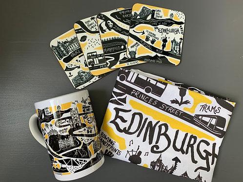 Edinburgh City Illustrated Map Tea Towel, Mug and Coasters - 'Yellow'