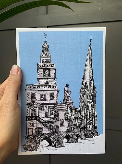 Dumfries Town Centre, A5 Linen Art Print from hand drawn ink sketch