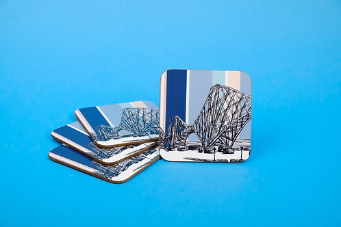 Forth Rail Bridge 4 Pack Coaster Gift Set - Pastel