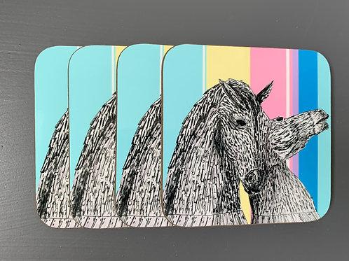 Falkirk Kelpie Horses Wooden Coaster 4 pack