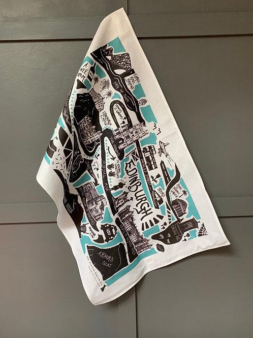 Edinburgh City Illustrated Map Tea Towel - 'Teal'