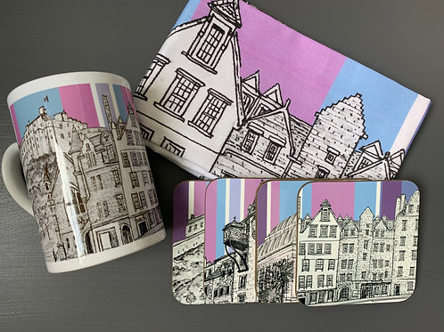 Edinburgh Castle and Grassmarket Tea Towel, Mug and Coaster Bundle - Thistle