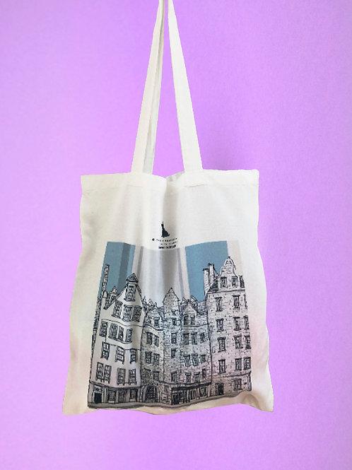Edinburgh Grassmarket Shopper Tote Bag - Blue