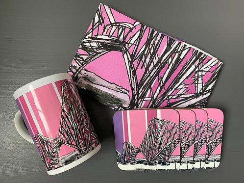 Forth Rail Bridge, South Queensferry Tea Towel, Mug and Coaster Bundle- Thistle