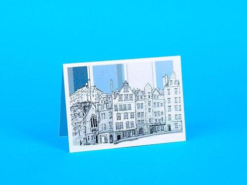 Edinburgh Castle and Grassmarket Greeting Card