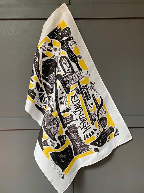 Edinburgh City Illustrated Map Tea Towel - 'Yellow'