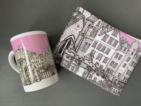 Edinburgh City Skyline Tea Towel and Mug Bundle