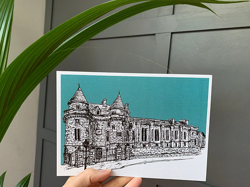 Falkland Palace, Falkland, Fife A5 Linen Art Print in Teal