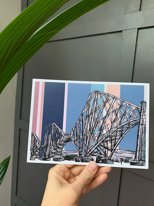 Forth Rail Bridge, South Queensferry, A5 Hand Drawn ink sketch art print