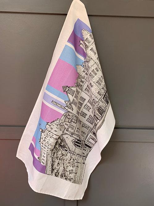 Edinburgh Castle and Grassmarket Tea Towel - Thistle