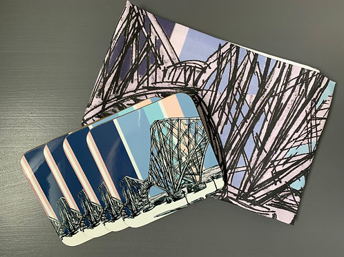 Forth Rail Bridge, South Queensferry Tea Towel and Coaster Bundle - Pastel-