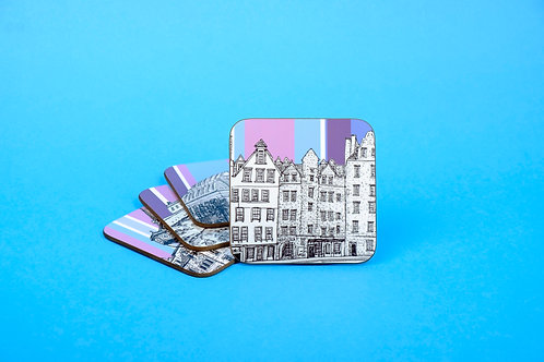Edinburgh 4 Pack Coaster Gift Set - Thistle