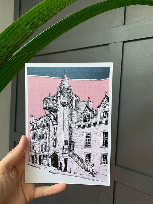 Canongate Toolbooth, Edinburgh, A5 Art Poster Print