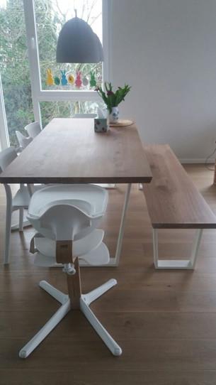 Esstisch Gustav (190x90 cm, mit Ansteckplatte und Sitzbank)