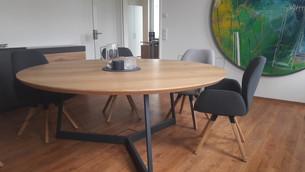 Konferenztisch ROMEO (180 cm, Eiche 4 cm, ruhig, farblos geölt)