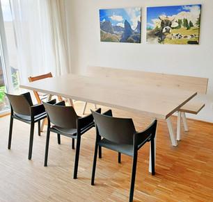 Esstisch LASSE mit passender Sitzbank (230 x 100 cm, Eiche, Ölung Edelweiß)