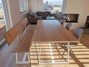 Esstisch OLE (240 x 103 cm, Eiche, Edelweiß geölt) mit passender Sitzbank