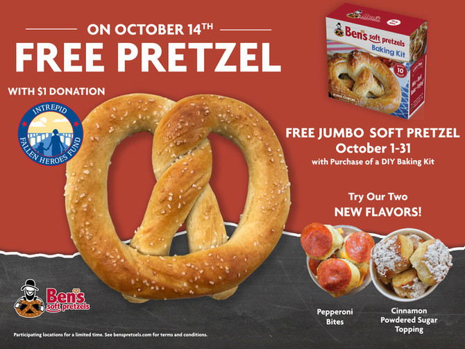 Ben's Pretzels Celebrates National Pretzel Month by Raising Money for Veterans, Free Pretzels an