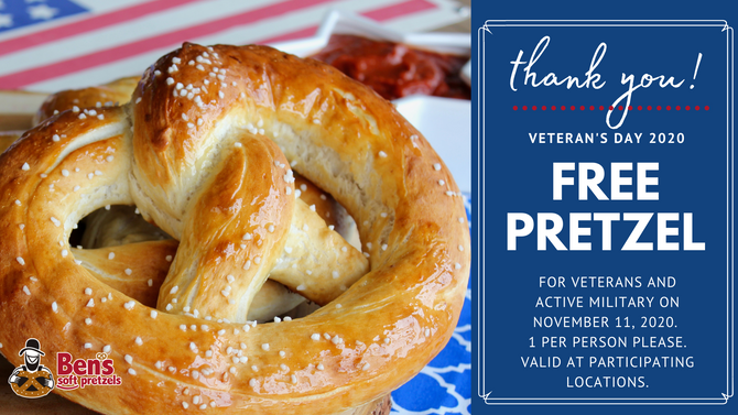 Free Pretzel for Veterans Day 2020
