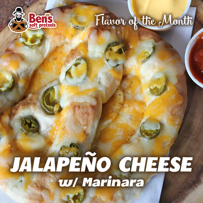 Ben's Pretzel Flavor of the Month: Jalapeno Cheese with Marinara Dipping Sauce