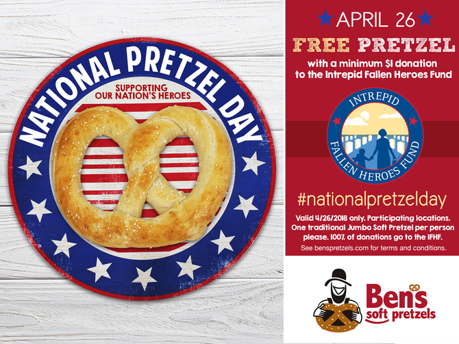 Free Pretzels for National Pretzel Day April 26 at Ben's Soft Pretzels