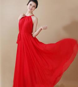 Women-chiffon-Red-Dress-Fashion-Lose-Bea