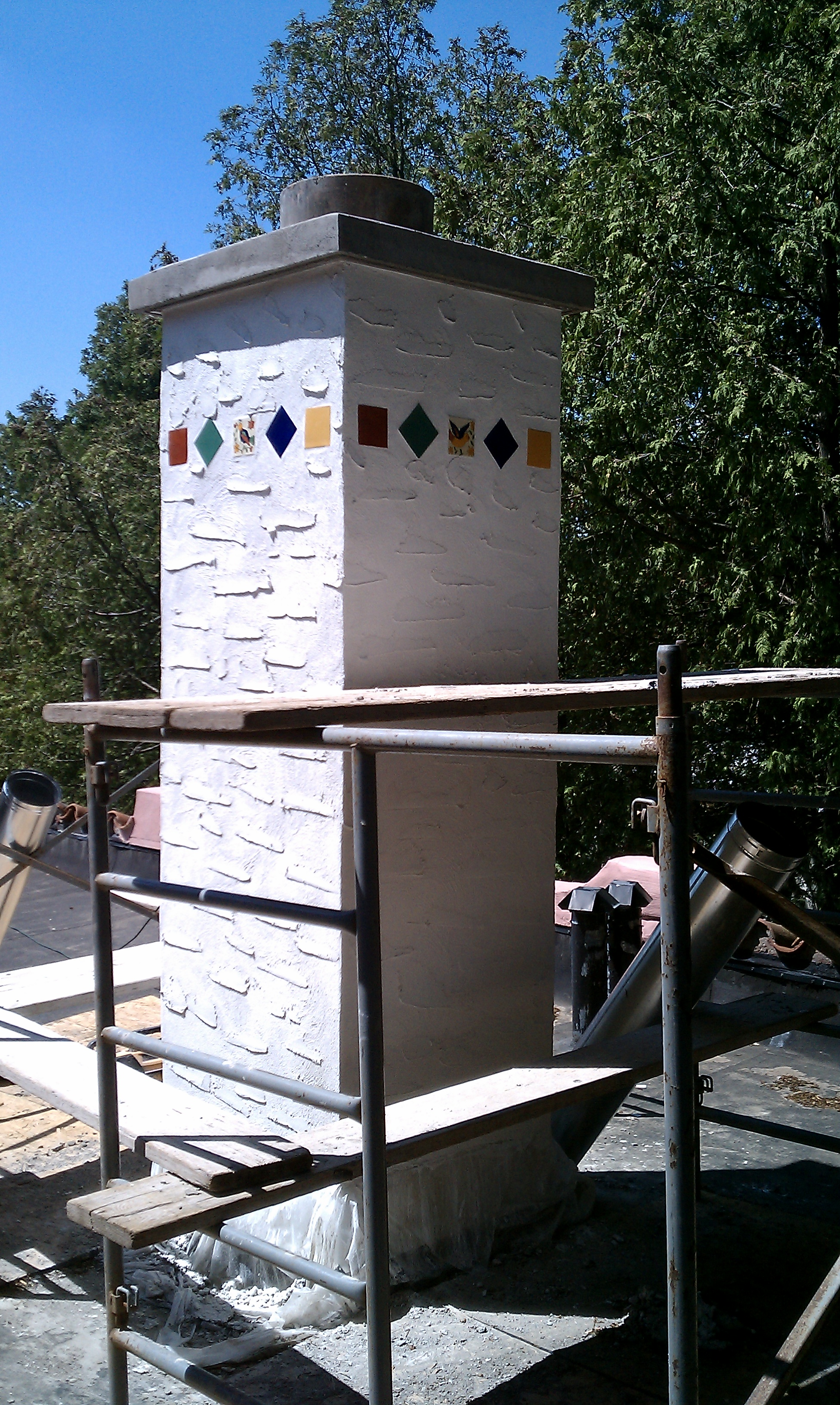 Stucco and Tile Chimney