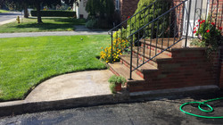 Brick steps with brownstone treads