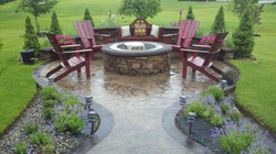 Custom Stone Firepit and Wall