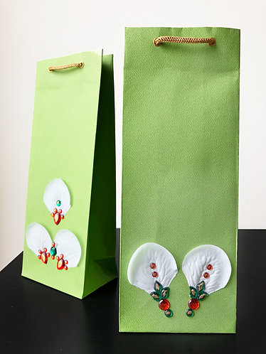 Flower Petal & Beads Wine Bags (Set of 2)