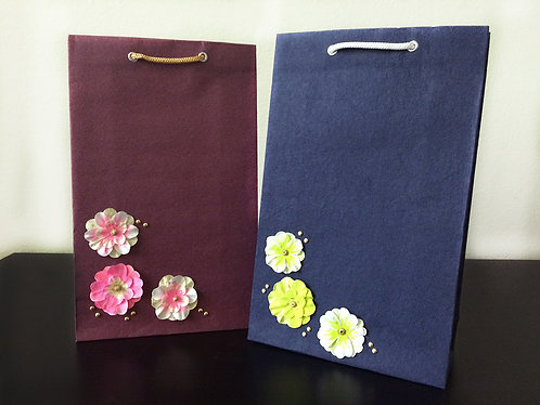 Hand Painted Flowers - Gift Bags (Set of 2)