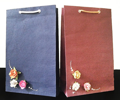Multicolor 3 Flowers with Pearls (Set of 2)