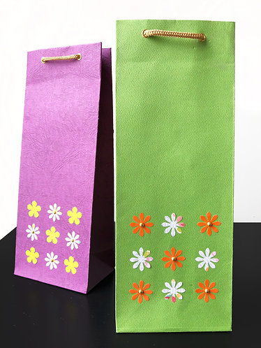 Flowers in Square Wine Bags (Set of 2)