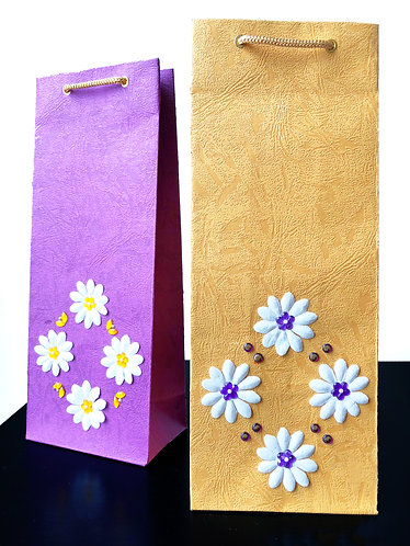 Pattern Flowers Wine Bags (Set of 2)