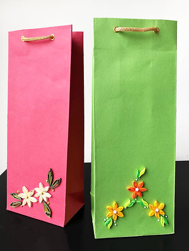 Paper Quilling Wine Bags (Set of 2)