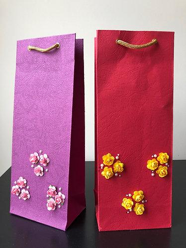 Paper Flowers Wine Bags (Set of 2)