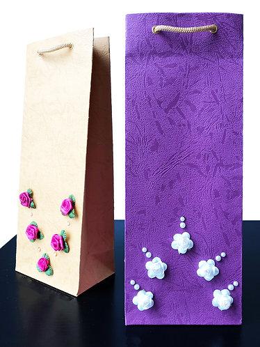 Flowers on Wine Bags (Set of 2)