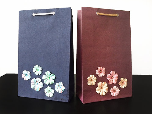 Printed Paper Flowers with Beads - Gift Bags (Set of 2)