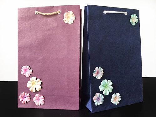 Printed Paper Flowers - Gift Bags (Set of 2)