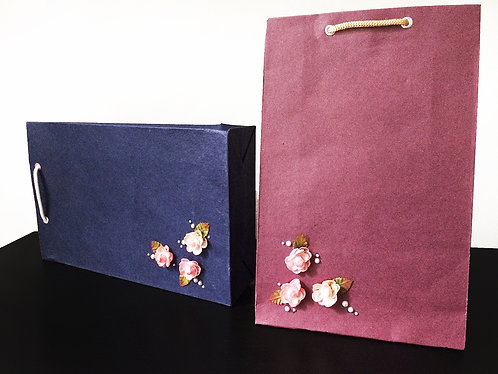 Multi Pink Flowers with Pearls (Set of 2)