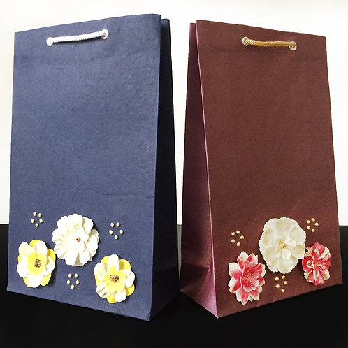 Handpainted Flowers with Gold Dots - Gift Bags (Set of 2)