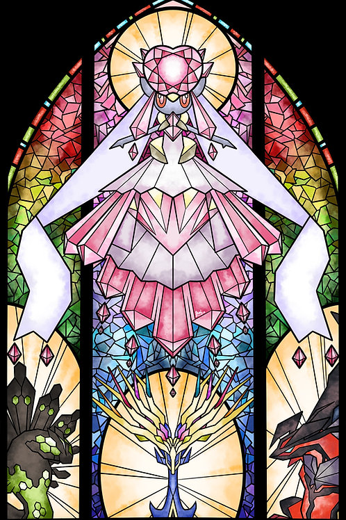 Pokemon - Kalos Legendaries Stained Glass Poster
