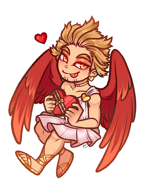 Valentines - Cupid Hawks Sticker