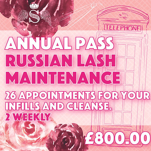 Annual Pass Russian Lash Infill & Cleanse (2 weekly)