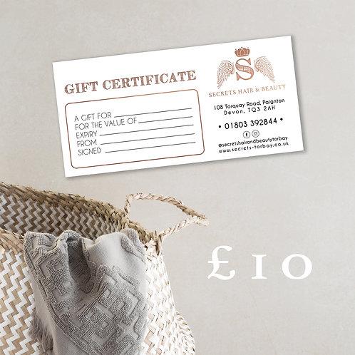Secrets £10 Gift Certificate