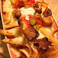 Nachos with belly pork bites
