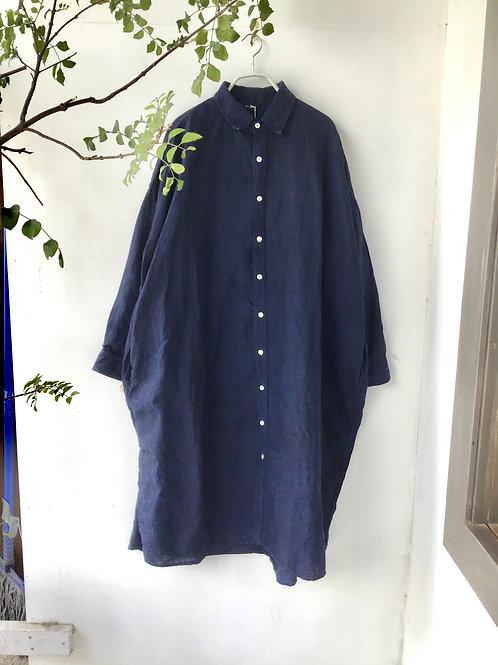 高城染工  RV-7001 リネンロングシャツ・藍染