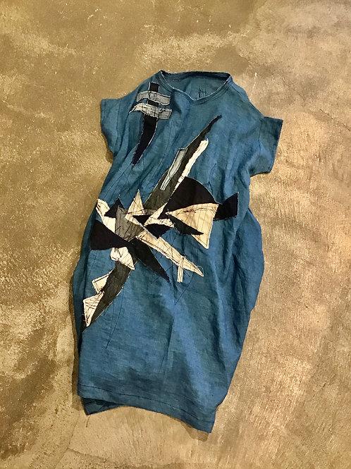 パッチ 麻の藍染ワンピース