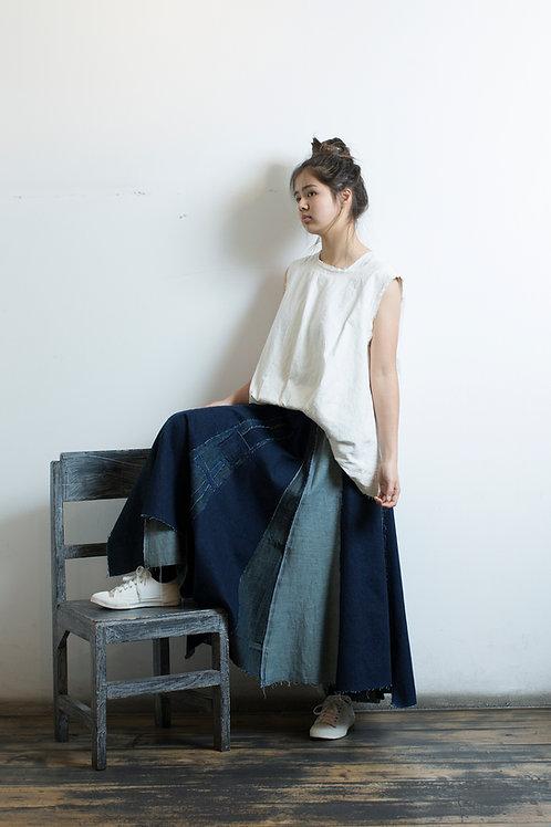 DS801デニムパッチスカート