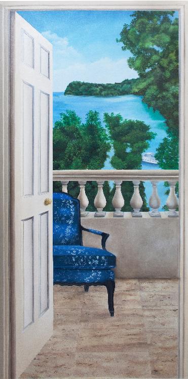 Terrace Doorway - Oil on canvas glued to
